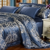 Ozean Blau Seide Bettbezug