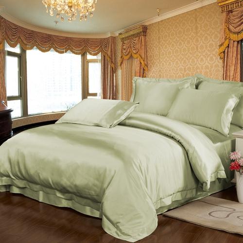 Weich Grün Seide Bettbezug
