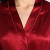 Rotwein Damen Seide Morgenmantel