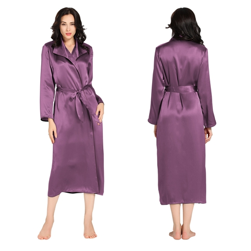 Violett Damen Seide Morgenmantel