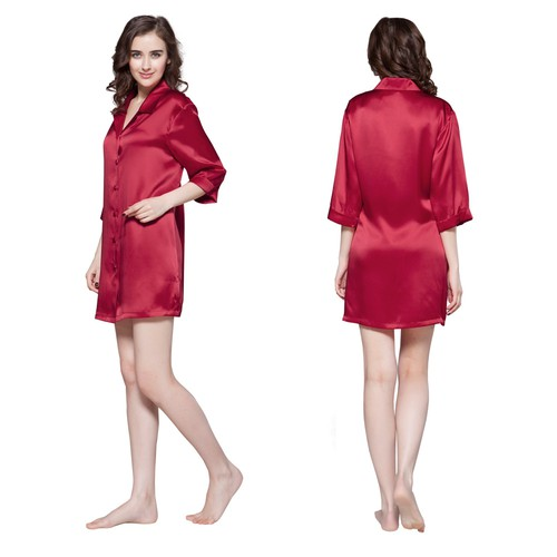 Rouge Vineux Chemise de Nuit Soie