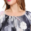 Pittura Floreale Inchiostro Grigio Camicia da notte di seta donna