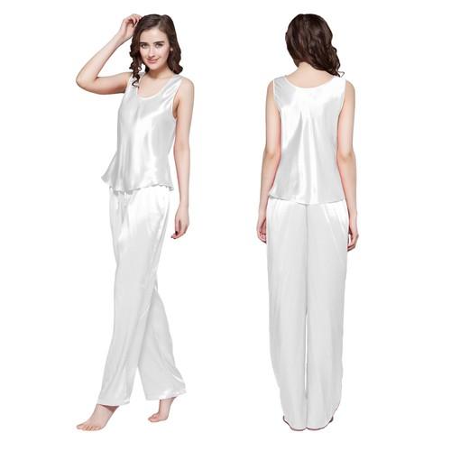 Blanc Pyjama Femme Soie