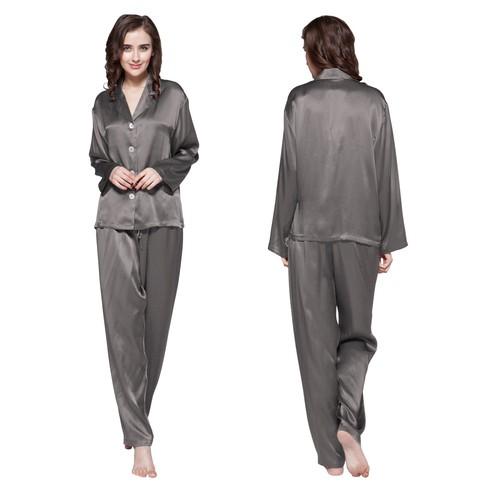 Gris Foncé Pyjama Femme Soie