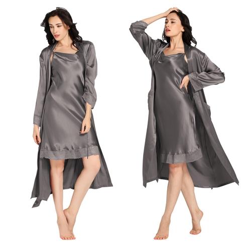 Gris Foncé Robe de Chambre Pyjama Soie Femme