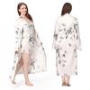 Lotus Blanc Robe de Chambre Soie Grande Taille Femme