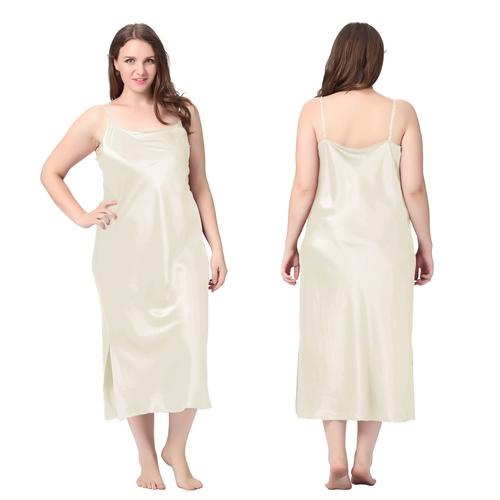 Beige Chemise de Nuit Soie Grande Taille Femme