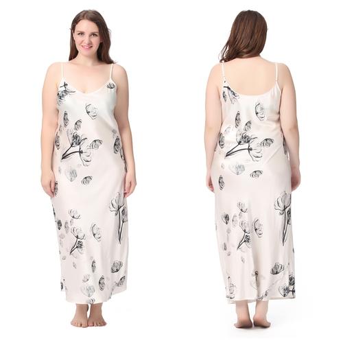 Lotus Blanc Chemise de Nuit Soie Grande Taille Femme