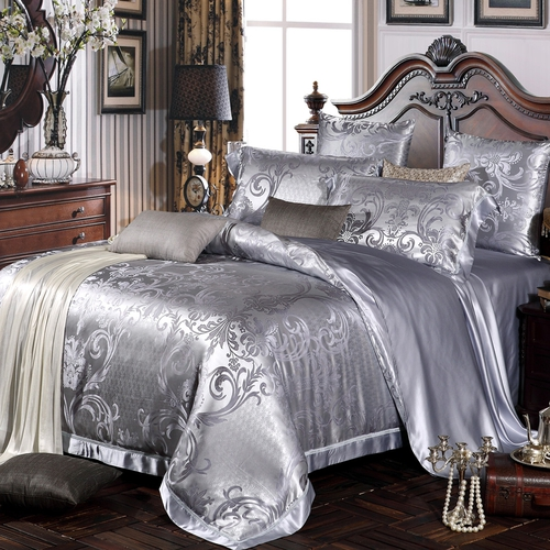 parure de lit en soie 22 momme sans couture jacquard darlene lilysilk. Black Bedroom Furniture Sets. Home Design Ideas