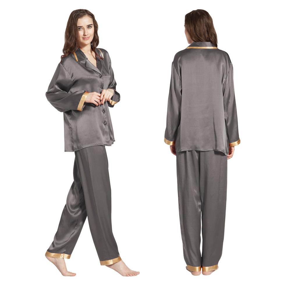 pyjama en soie 22 momme luxueuse pour femme manches longues. Black Bedroom Furniture Sets. Home Design Ideas