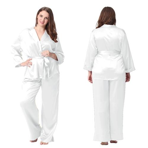 pyjama femme soie 22 momme avec ceinture nou e grande. Black Bedroom Furniture Sets. Home Design Ideas