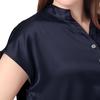 Bleu Marine Pyjama Soie Grande Taille Femme