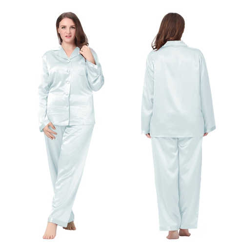 Bleu Ciel Clair Pyjama Soie Grande Taille Femme