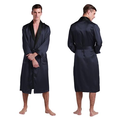 Robe De Chambre En Soie Longue Haute gamme Bordure Noire