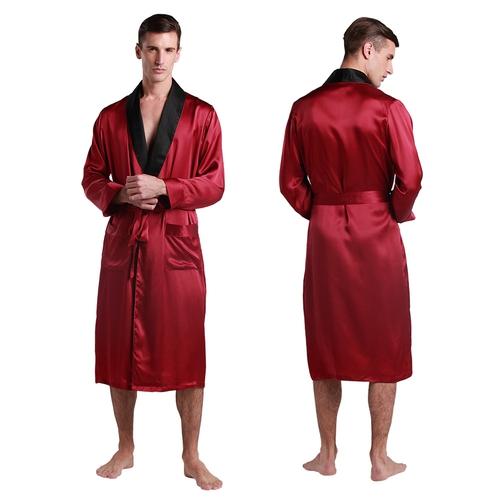 Violetto Rosso Accappatoio di seta da uomo