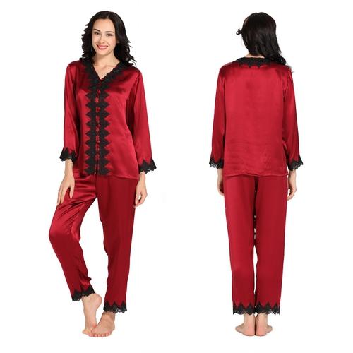 Fabuleux De Pyjama En Soie À Dentelle Col V CR84