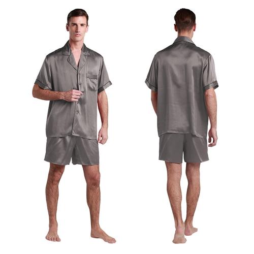 suite de pyjama en soie courte bordure noire pour homme. Black Bedroom Furniture Sets. Home Design Ideas
